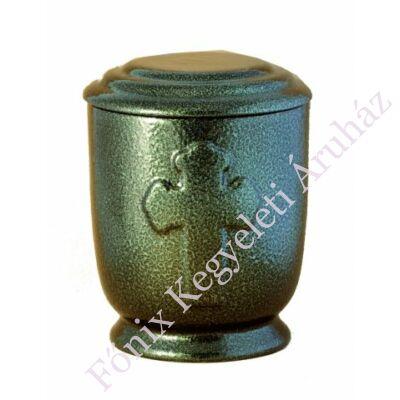 Zöld kerek urna kereszt motívummal