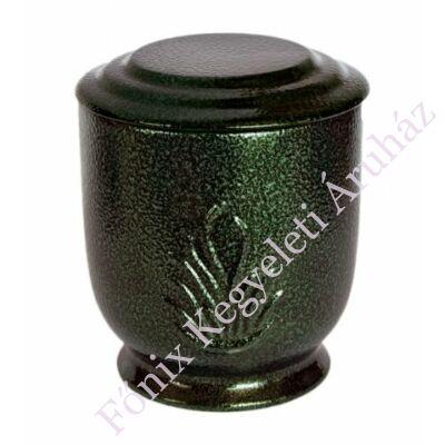 Zöld kerek urna láng motívummal